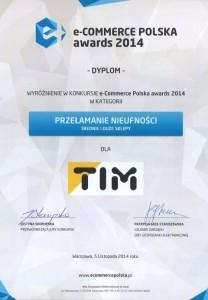 """Wyróżnienie w konkursie """"e-Commerce Polska awards 2014"""" dla Sklepu TIM - dyplom"""